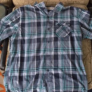 Men's gray and teal button down O'Neill shirt